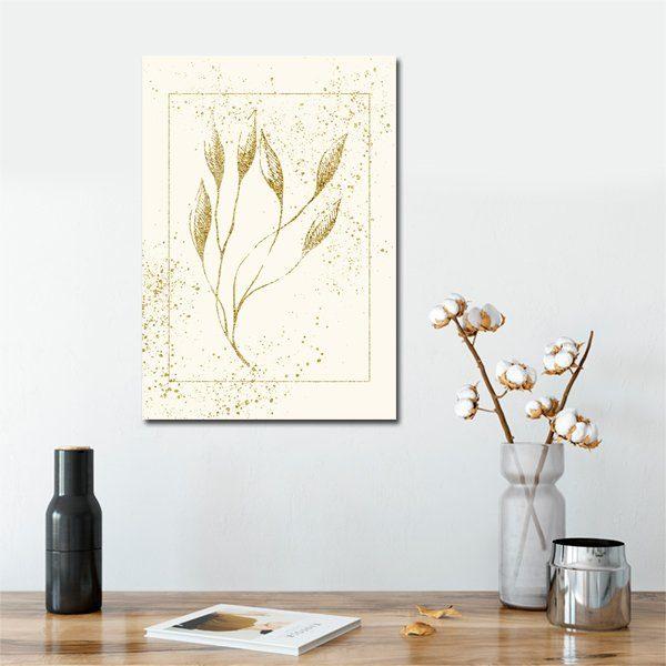 plakat ze złotą rosliną
