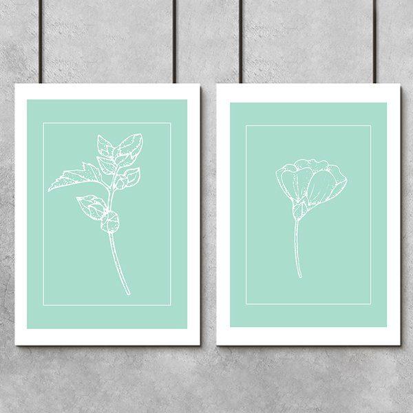 białe kwiatki na dyptyku