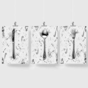 kuchnia ze sztućcami jako plakat