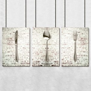 murek ze sztuccami do kuchni jako plakat