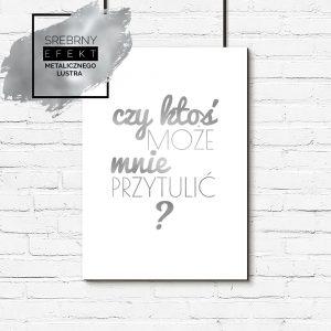 Srebrny plakat czy ktoś może mnie przytulić ?