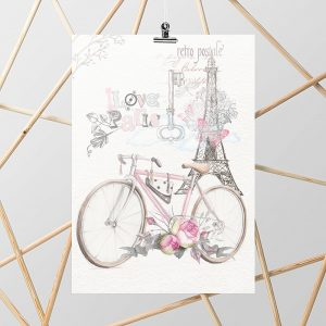 kolorowy plakat retro z rowerem