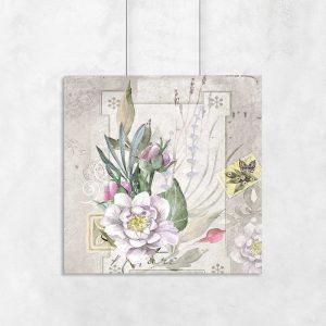 plakat z kwiatami retro
