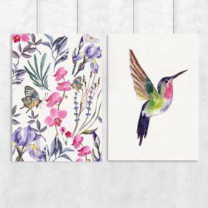 ptak na dyptyku kolorowym
