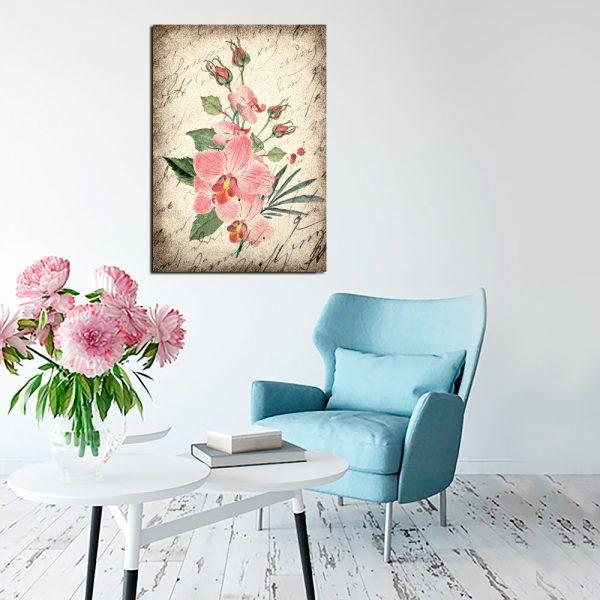 retro kwiatki na obrazie