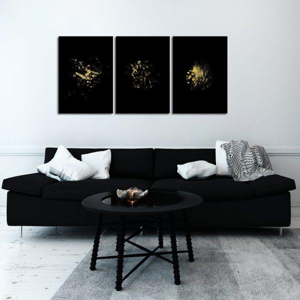 tryptyk czarny ze złotymi plamkami