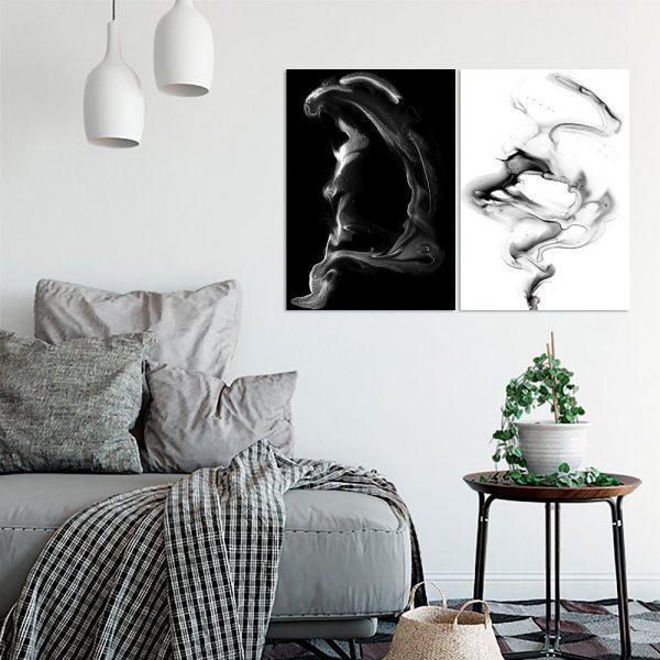 biało-czarne plakaty jako dyptyk