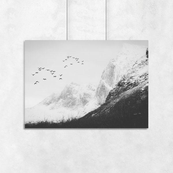 plakat z motywem góry i ptaków