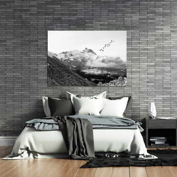 czarno-biały krajobraz z motywem gór