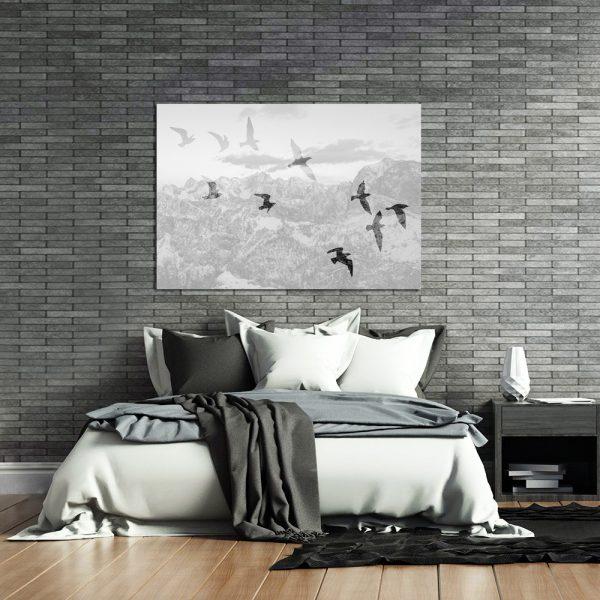 czarno-biały plakat z ptakami