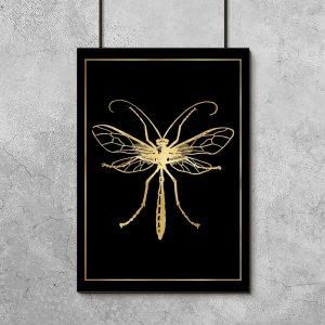 plakat ze złotą ważką