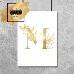 Złoty plakat z literą M