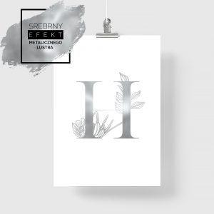Srebrny plakat z literą H