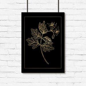 złoty kwiat na plakacie