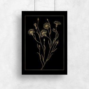 plakat jak złoto z motywem kwiatka