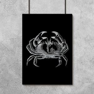 krab na plakacie srebrnym