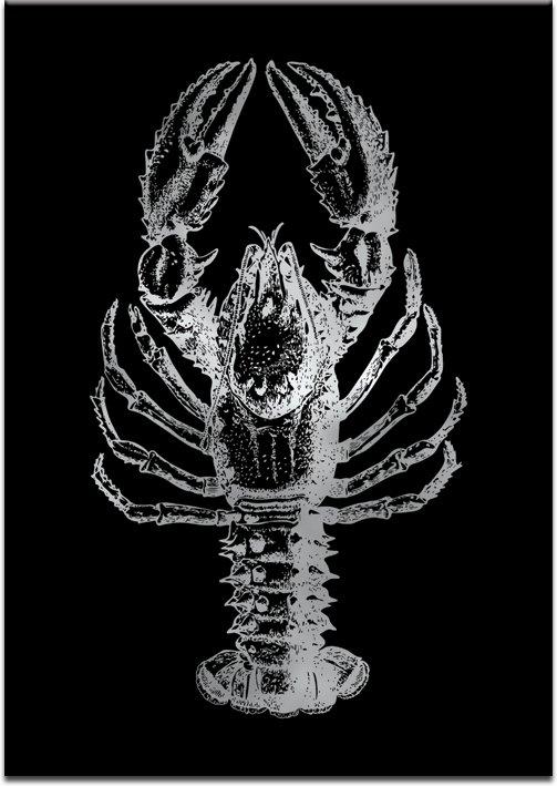 czarny plakat z motywem srebrnego raka