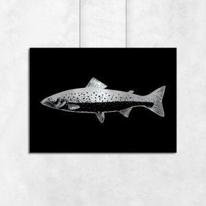 srebrny plakat z motywem rybki