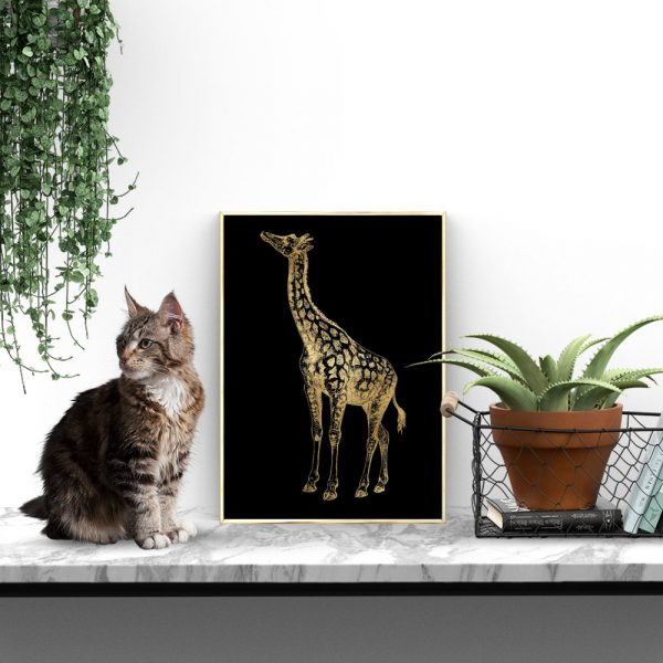 metaliczny plakat z żyrafką