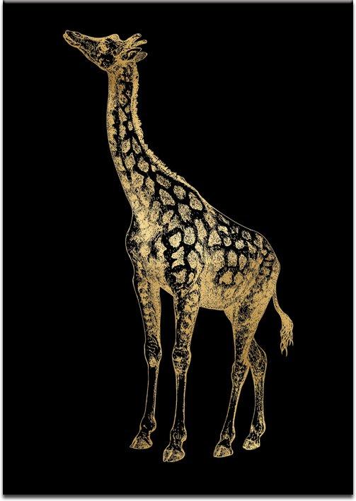 czarne tło z żyrafką złotą