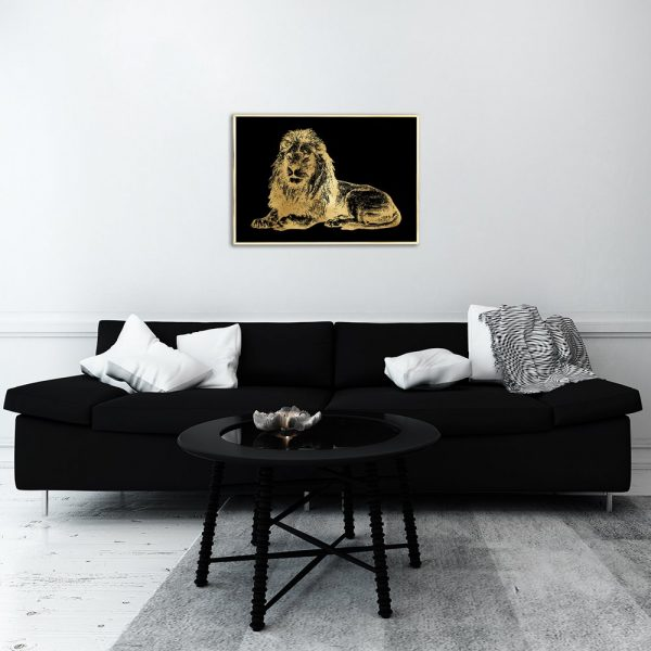 czarne tło plakatu z lwem
