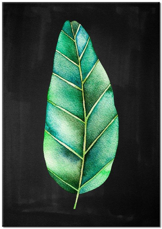 czarny obraz z liściem zielonym