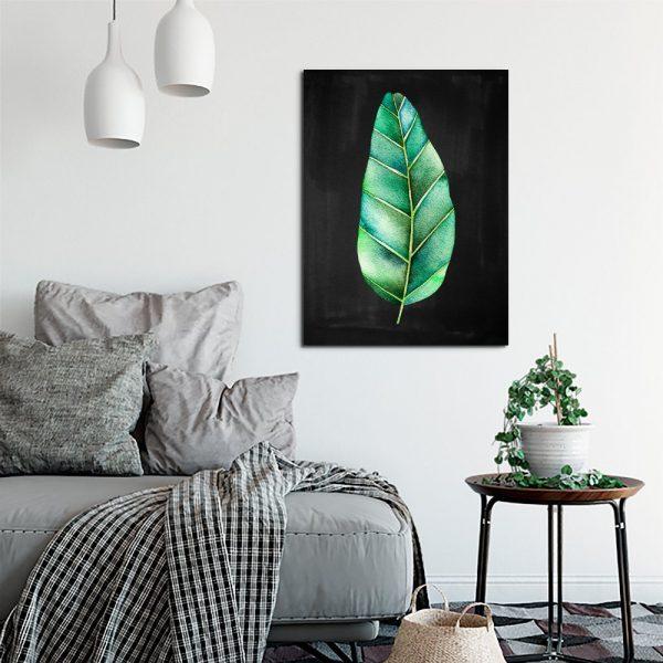 czarny plakat z liściem