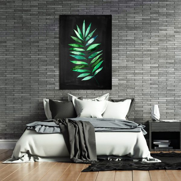 sypialnia z motywem tropikalnego liścia