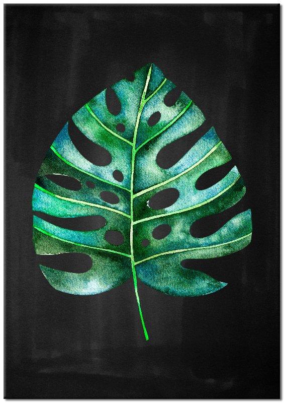 obraz z motywem liścia monstery