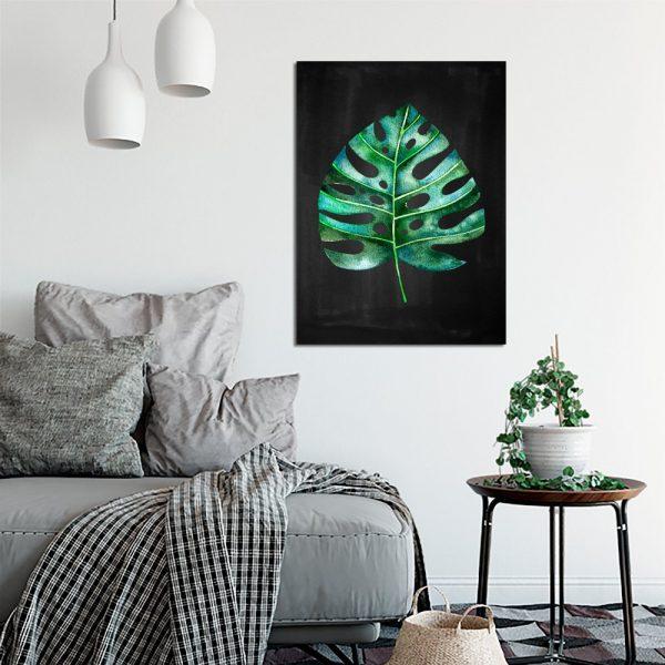 zielony liść tropikalny jako plakat