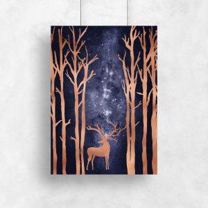plakat z jeleniem w lesie
