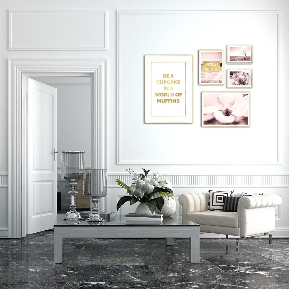 Galeria Pozłacanych Plakatów Z Napisami Różowymi Zdjęciami
