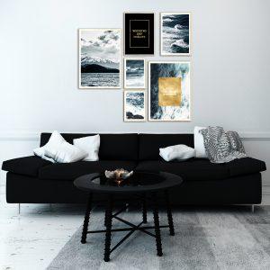 plakaty pozłacane z napisami do salonu