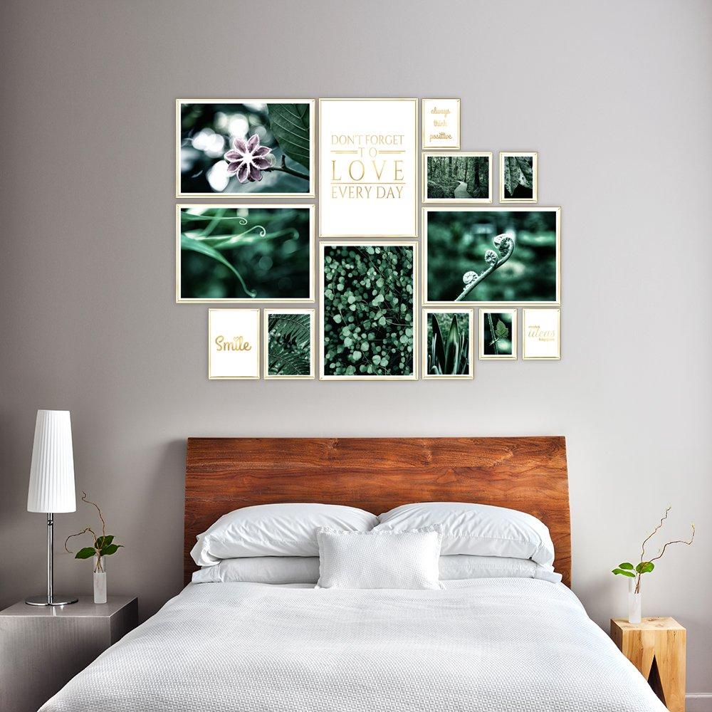 Zestaw Plakatów Na ścianę Zielone Motywy Natury I Złote Napisy