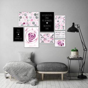 plakaty z różami i sentencjami