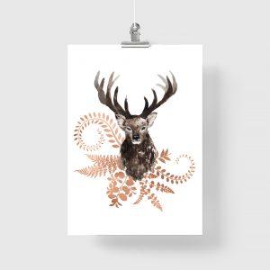 miedziane plakaty z jeleniami