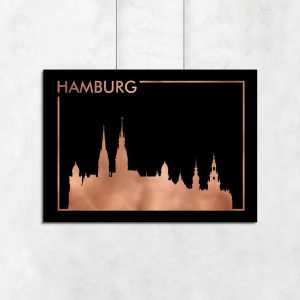 miedziany plakat z Hamburgiem