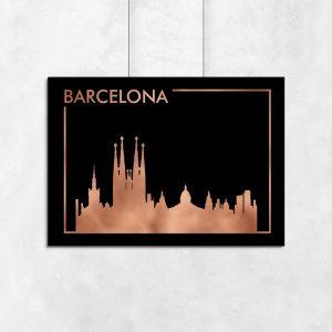 Barcelona jako miedziany plakat