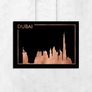 metaliczny plakat z motywem Dubaju