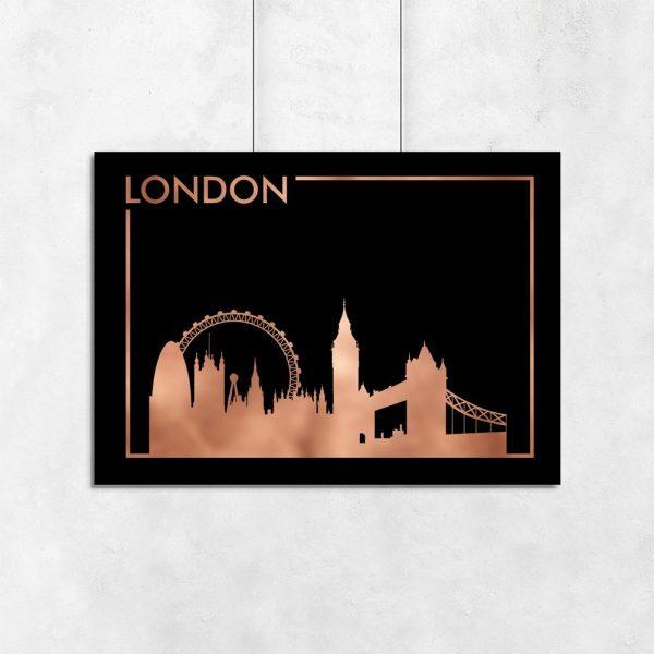 plakat metaliczny z Londynem