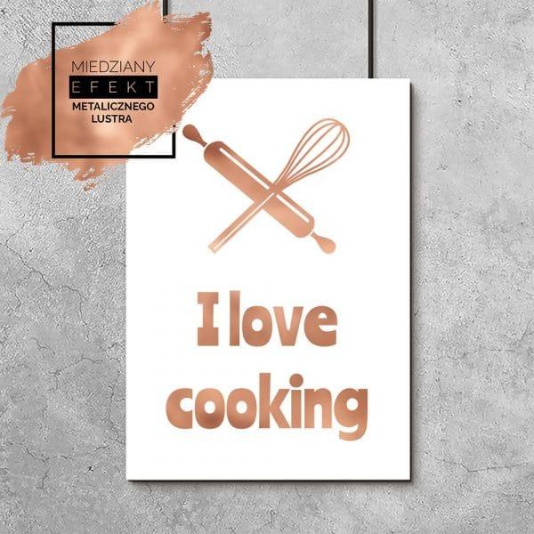 Miedziany plakat i love cooking