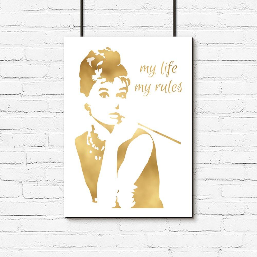Pozłacany Plakat Z Audrey Hepburn