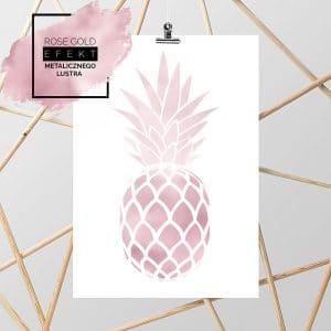 Rose gold plakat z ananasem