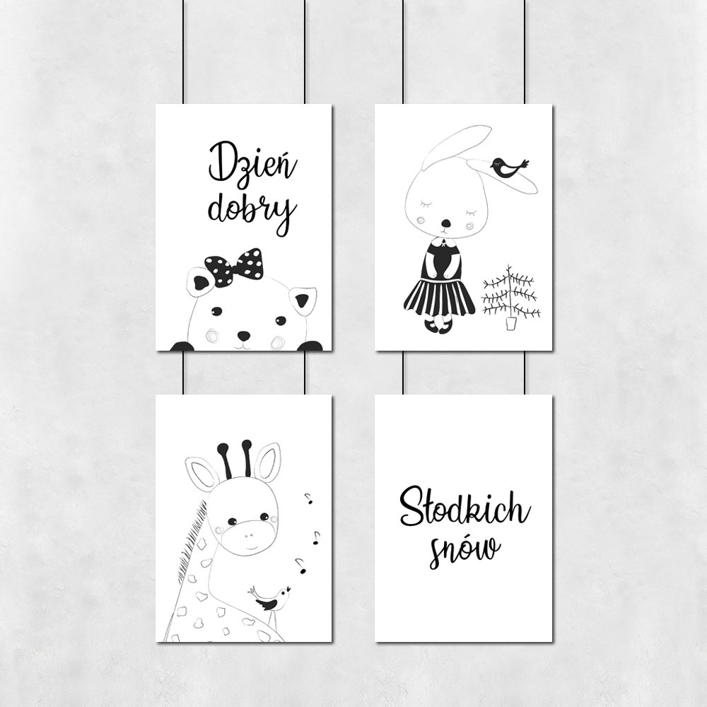 Zestaw Czterech Plakatów Dzień Dobry Słodkich Snów