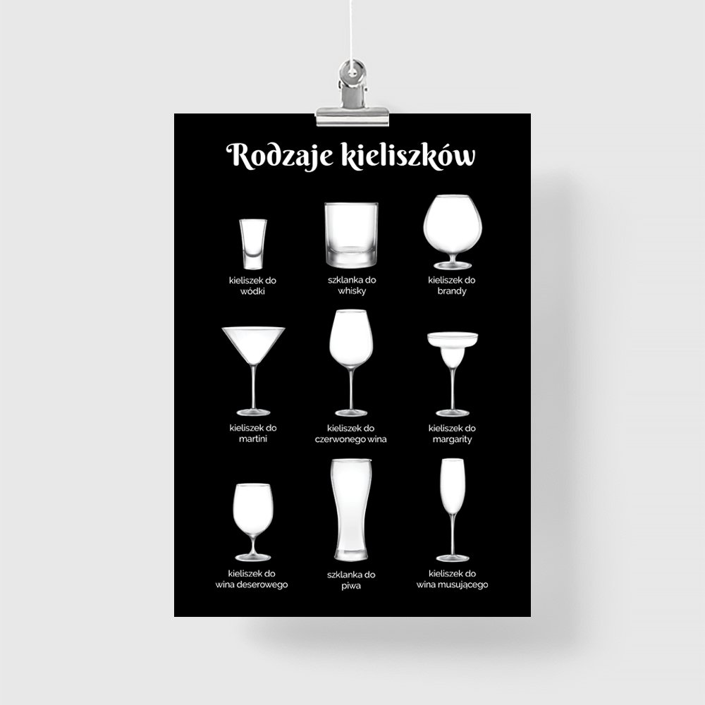 Plakat Rodzaje Kieliszków
