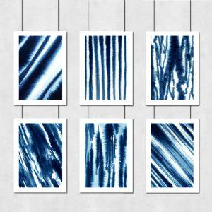 niebieskie plakaty z abstrakcjami w zestawie
