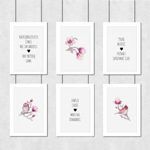 Plakat z motywem kwiatów magnolii do sypialni