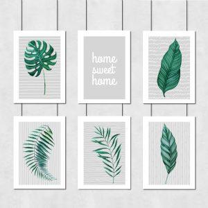 Zestaw plakatów z zielonymi liśćmi i napisem