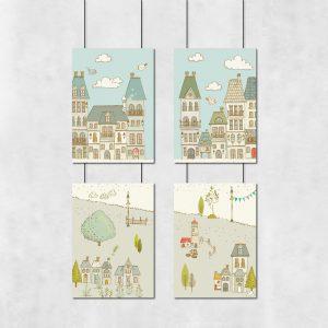 Kolorowa galeria plakatów do pokoju dziecka