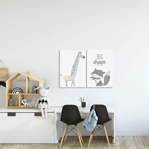 Plakat z żyrafą i liskiem do pokoju dziecięcego
